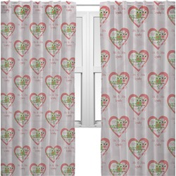 Valentine Owls Sheer Curtains (Personalized)
