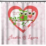 Valentine Owls Shower Curtain (Personalized)