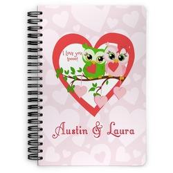 Valentine Owls Spiral Bound Notebook (Personalized)
