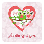 Valentine Owls Square Decal - Custom Size (Personalized)