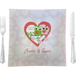 """Valentine Owls 9.5"""" Glass Square Lunch / Dinner Plate- Single or Set of 4 (Personalized)"""