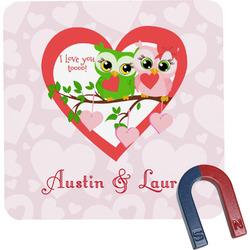 Valentine Owls Square Fridge Magnet (Personalized)