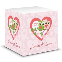 Valentine Owls Sticky Note Cube (Personalized)