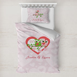 Valentine Owls Toddler Bedding w/ Couple's Names
