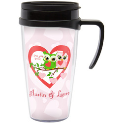 Valentine Owls Travel Mug with Handle (Personalized)