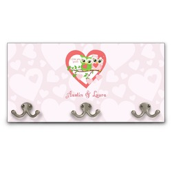 Valentine Owls Wall Mounted Coat Rack (Personalized)