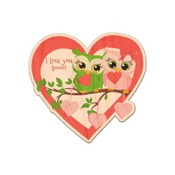 Valentine Owls Genuine Wood Sticker (Personalized)