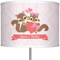 """Chipmunk Couple 13"""" Drum Lamp Shade Polyester (Personalized)"""