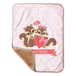 "Chipmunk Couple Sherpa Baby Blanket 30"" x 40"" (Personalized)"