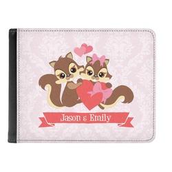 Chipmunk Couple Genuine Leather Men's Bi-fold Wallet (Personalized)