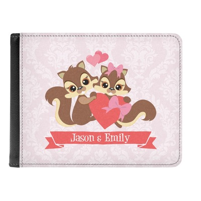 Chipmunk Couple Genuine Leather Men's Bi-fold Wallet (Personalized)