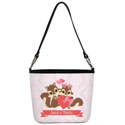 Chipmunk Couple Bucket Bag w/ Genuine Leather Trim (Personalized)