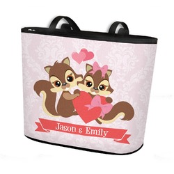 Chipmunk Couple Bucket Tote w/ Genuine Leather Trim (Personalized)