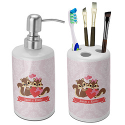 Chipmunk Couple Bathroom Accessories Set (Ceramic) (Personalized)