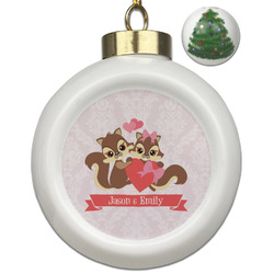 Chipmunk Couple Ceramic Ball Ornament - Christmas Tree (Personalized)