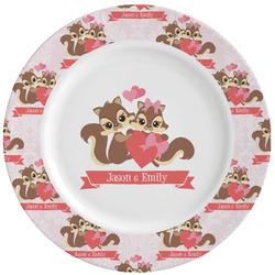 Chipmunk Couple Ceramic Dinner Plates (Set of 4) (Personalized)