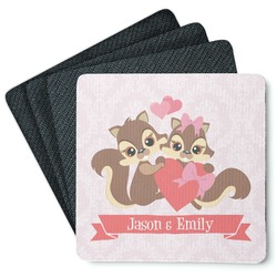 Chipmunk Couple 4 Square Coasters - Rubber Backed (Personalized)
