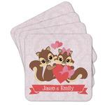 Chipmunk Couple Cork Coaster - Set of 4 w/ Couple's Names