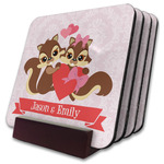 Chipmunk Couple Coaster Set w/ Stand (Personalized)