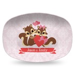 Chipmunk Couple Plastic Platter - Microwave & Oven Safe Composite Polymer (Personalized)