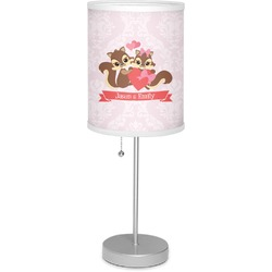 "Chipmunk Couple 7"" Drum Lamp with Shade (Personalized)"