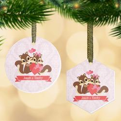Chipmunk Couple Flat Glass Ornament w/ Couple's Names