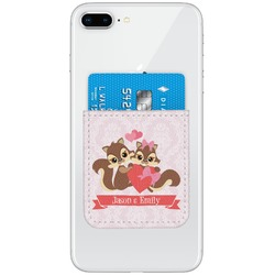Chipmunk Couple Genuine Leather Adhesive Phone Wallet (Personalized)