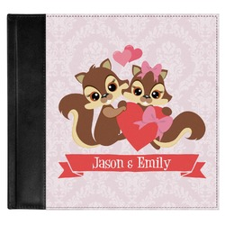 Chipmunk Couple Genuine Leather Baby Memory Book (Personalized)