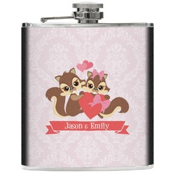 Chipmunk Couple Genuine Leather Flask (Personalized)