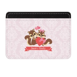 Chipmunk Couple Genuine Leather Front Pocket Wallet (Personalized)