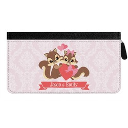 Chipmunk Couple Genuine Leather Ladies Zippered Wallet (Personalized)