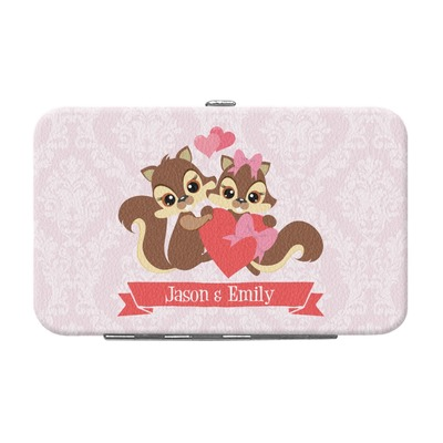 Chipmunk Couple Genuine Leather Small Framed Wallet (Personalized)