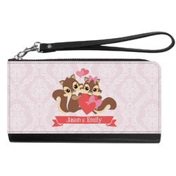 Chipmunk Couple Genuine Leather Smartphone Wrist Wallet (Personalized)