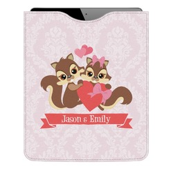 Chipmunk Couple Genuine Leather iPad Sleeve (Personalized)