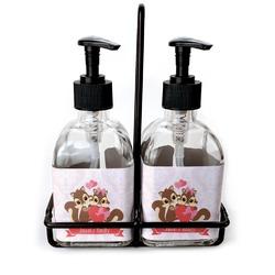Chipmunk Couple Soap & Lotion Dispenser Set (Glass) (Personalized)
