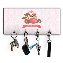 Chipmunk Couple Key Hanger w/ 4 Hooks (Personalized)