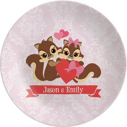 "Chipmunk Couple Melamine Plate - 8"" (Personalized)"