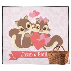 Chipmunk Couple Outdoor Picnic Blanket (Personalized)