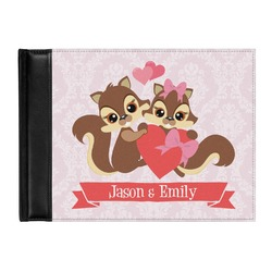 Chipmunk Couple Genuine Leather Guest Book (Personalized)
