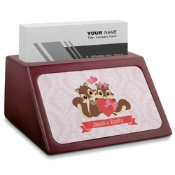 Chipmunk Couple Red Mahogany Business Card Holder (Personalized)