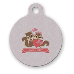 Chipmunk Couple Round Pet Tag (Personalized)