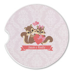 Chipmunk Couple Sandstone Car Coasters (Personalized)