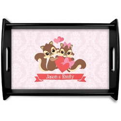 Chipmunk Couple Black Wooden Tray (Personalized)