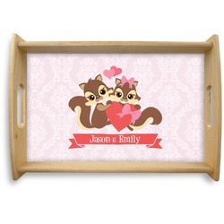 Chipmunk Couple Natural Wooden Tray (Personalized)