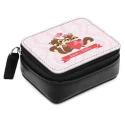 Chipmunk Couple Small Leatherette Travel Pill Case (Personalized)
