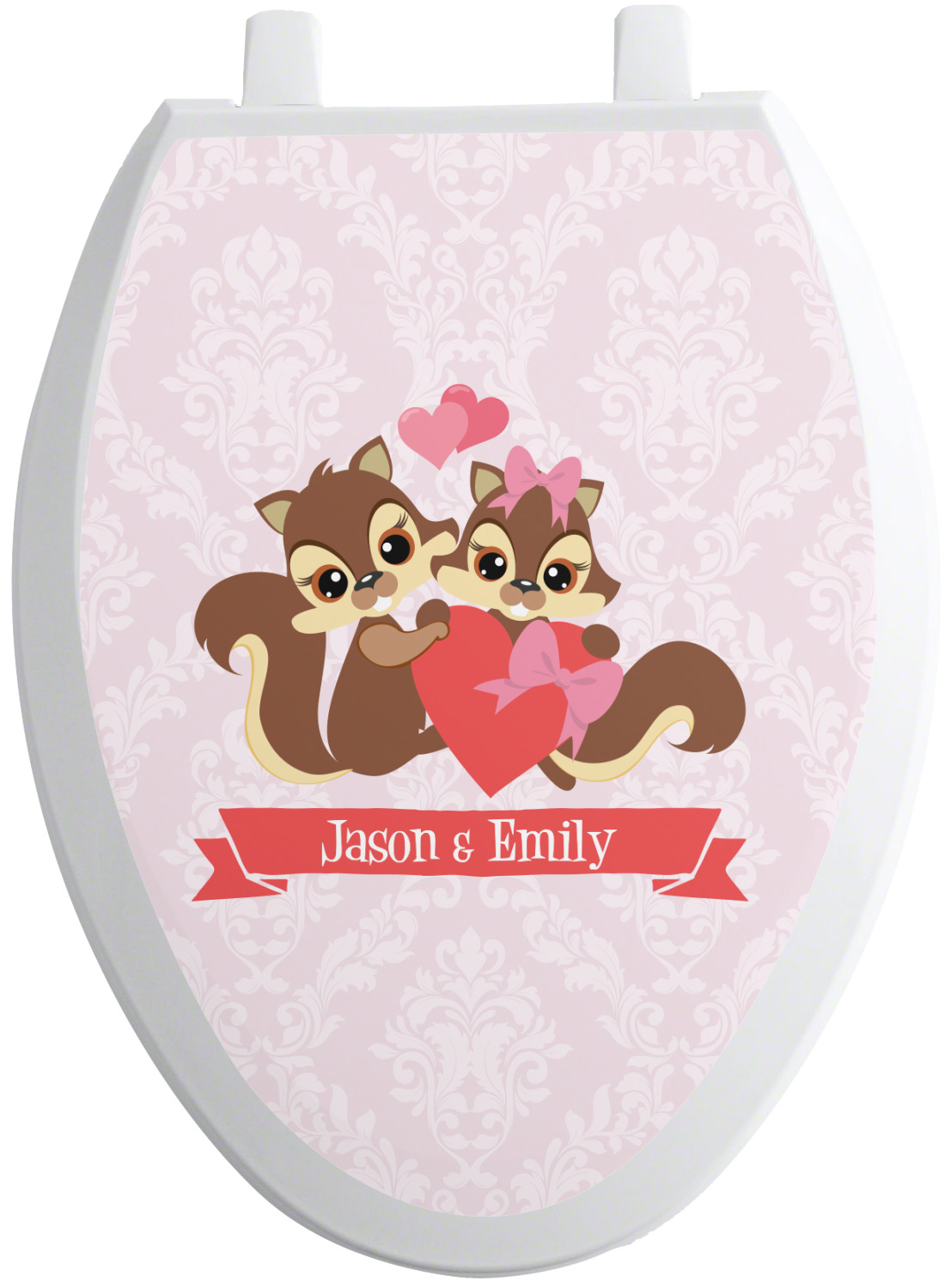 chipmunk couple toilet seat decal elongated. Black Bedroom Furniture Sets. Home Design Ideas