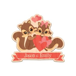 Chipmunk Couple Genuine Maple or Cherry Wood Sticker (Personalized)