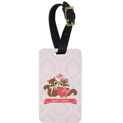 Chipmunk Couple Metal Luggage Tag w/ Couple's Names