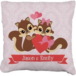 "Chipmunk Couple Faux-Linen Throw Pillow 26"" (Personalized)"