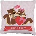 Chipmunk Couple Faux-Linen Throw Pillow (Personalized)